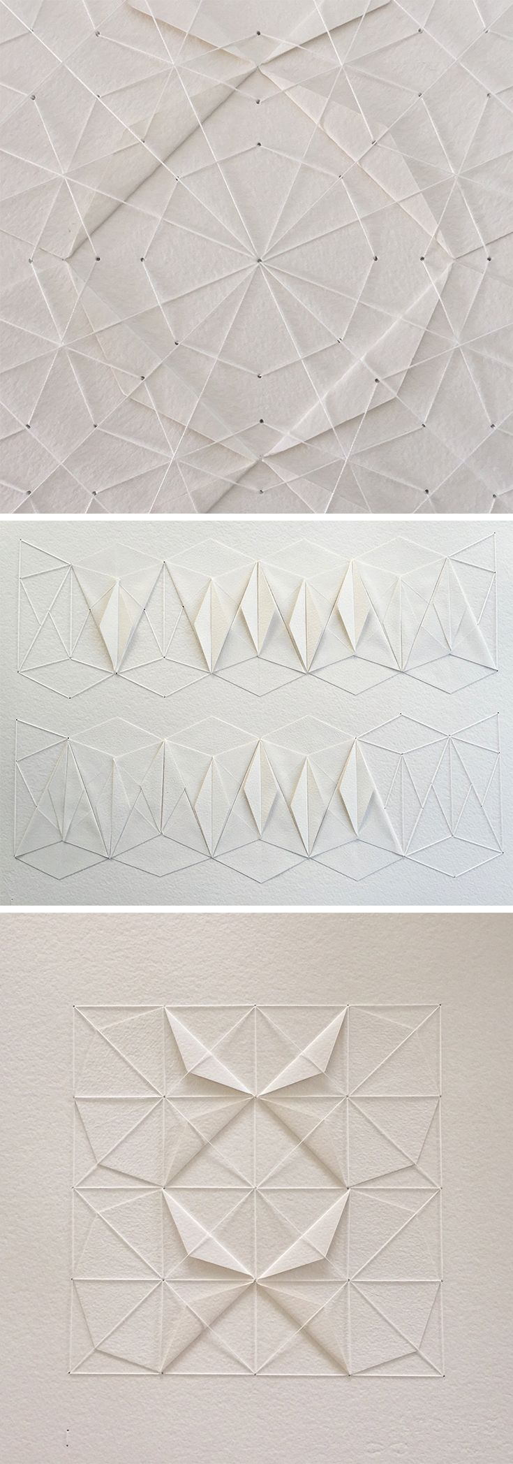 Click for more pics! | Delicate Stitched Origami Patterns by Liz Sofield #origami #paperart #patterns