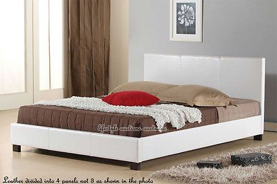 BRAND NEW PRADA WHITE KING SINGLE SIZE PU LEATHER WOODEN BED FRAME