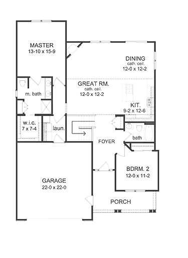 Home Plans   Square Feet, 2 Bedroom 2 Bathroom Ranch Home With 2 Garage Bays