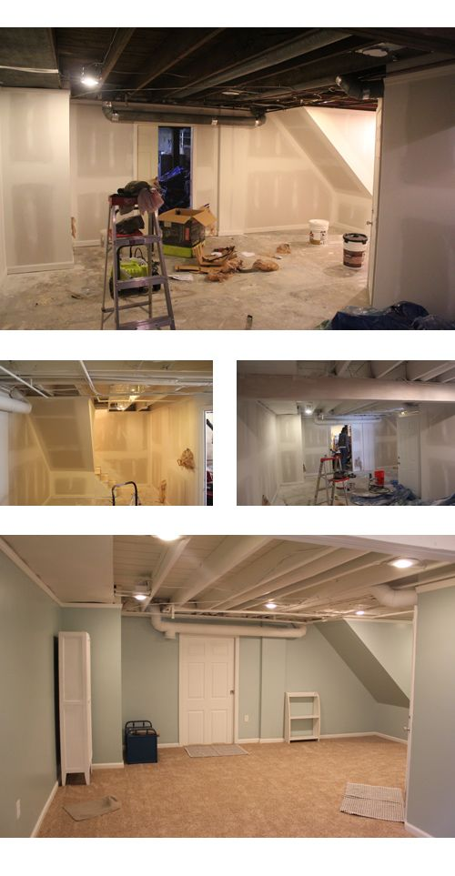 exposed ceiling painted white/ paint sprayer