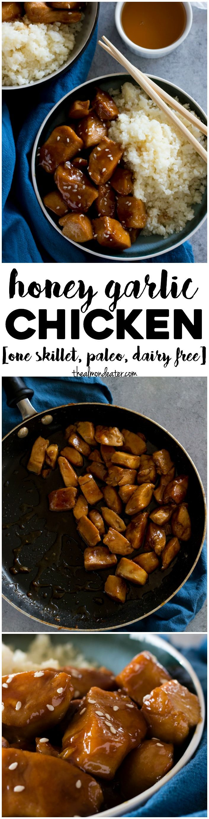 Honey Garlic Chicken   A one skillet meal that's ready in 30 minutes--perfect for weeknight meals!   thealmondeater.com
