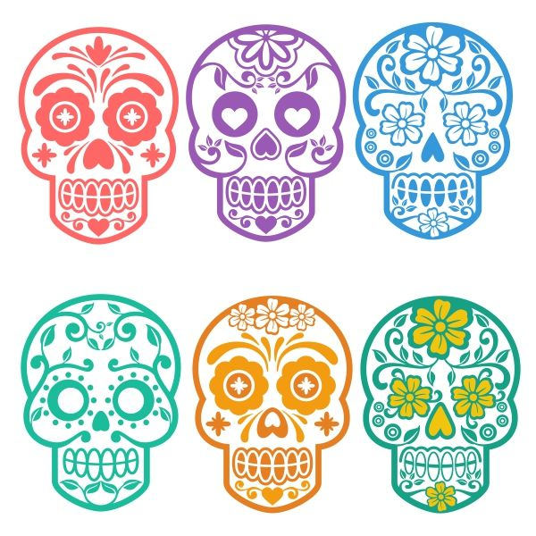 Sugar Skull Cuttable Design Cut File. Vector, Clipart, Digital Scrapbooking Download, Available in JPEG, PDF, EPS, DXF and SVG. Works with Cricut, Design Space, Cuts A Lot, Make the Cut!, Inkscape, CorelDraw, Adobe Illustrator, Silhouette Cameo, Brother ScanNCut and other software.