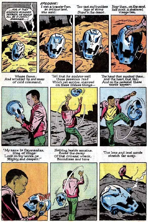 """Avengers"" #57 Epilogue: Ultron, ""Ozymandias"" poem by Percy Shelley"