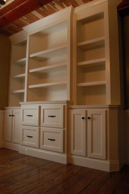 another built in look could do this in office with files, cabinets and shelves.