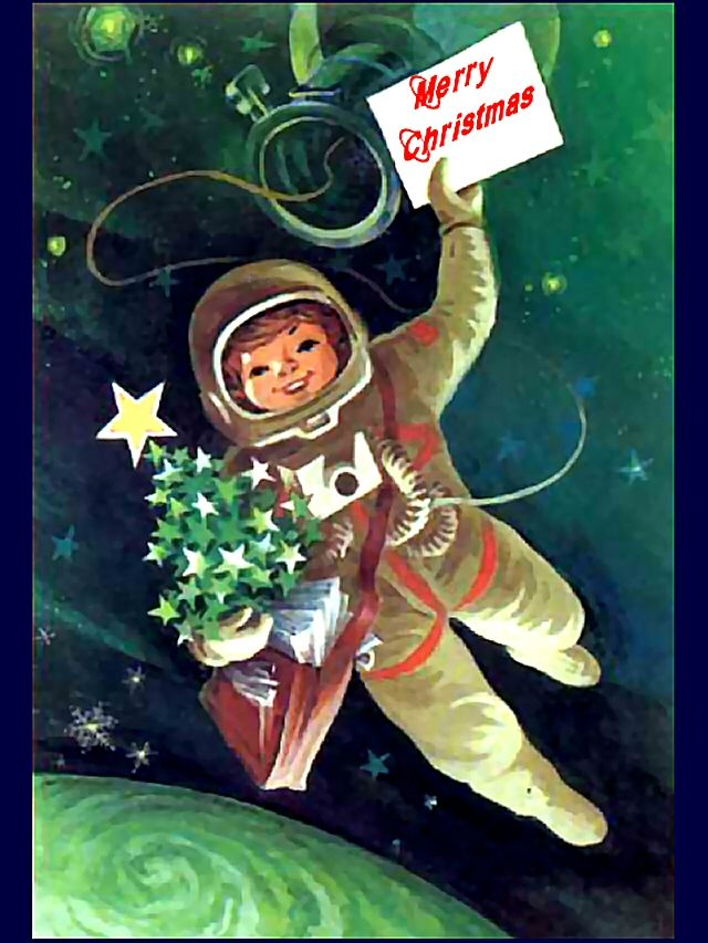 Young Cosmonaut with a Christmas Tree floating in Outer Space; Free Classic Retro Russian Christmas Card to Print