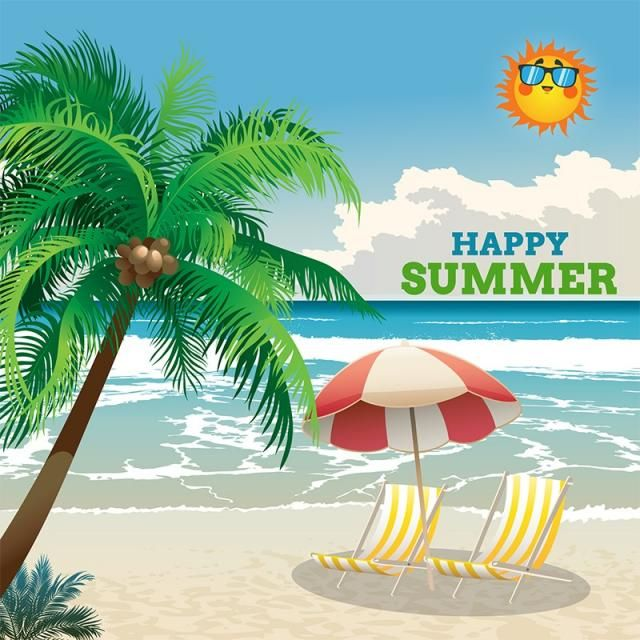 Happy Summer Tropical With Background Vector Summer Sun Background Vector Png Transparent Clipart Image And Psd File For Free Download Happy Summer Clip Art Summer Backgrounds