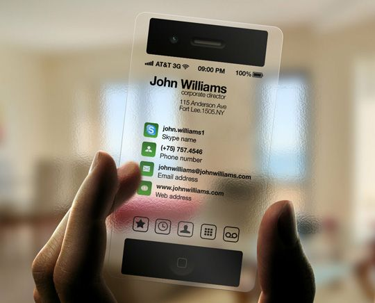 Transparent iPhone-inspired business card: Great idea for app developers!