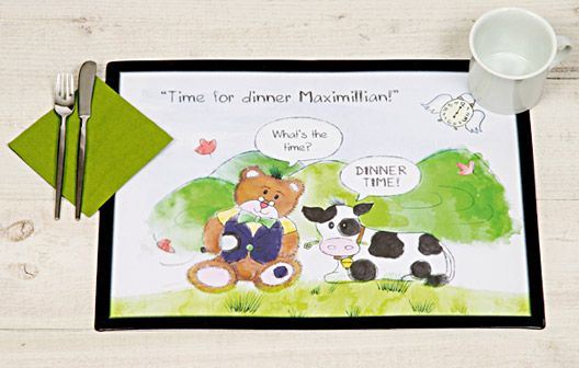 I Just Love It Time for Dinner Teddy - Personalised Placemat Time for Dinner Teddy - Personalised Placemat - Gift Details. Now your kids won?t mind if it?s dinnertime with this teddy-tastic children?s placemat that features their Name on the front. Make tea tim http://www.MightGet.com/january-2017-11/i-just-love-it-time-for-dinner-teddy--personalised-placemat.asp