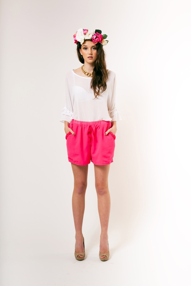 from piaboutique.com ♥ Hot pink chiffon shorts
