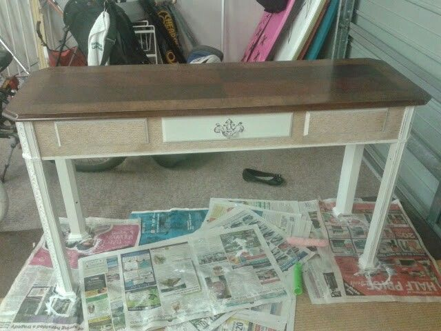 Hall table, sanded, painted  & decopaged.