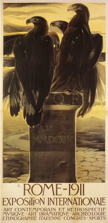 Duilio Cambellotti (Italian, 1876-1960), poster for the Exposition Internationale, Rome, 1911  via