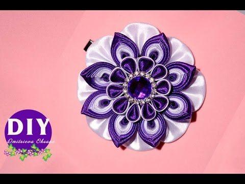 DIY.Kanzashi flower tutorial.Flower kanzashi - YouTube