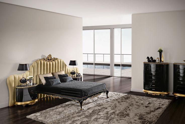 Venezia black and gold bedroom  Jetclass   Real Furniture Luxury Interior Design