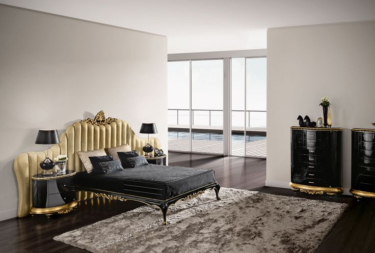 Venezia black and gold bedroom  Jetclass | Real Furniture Luxury Interior Design
