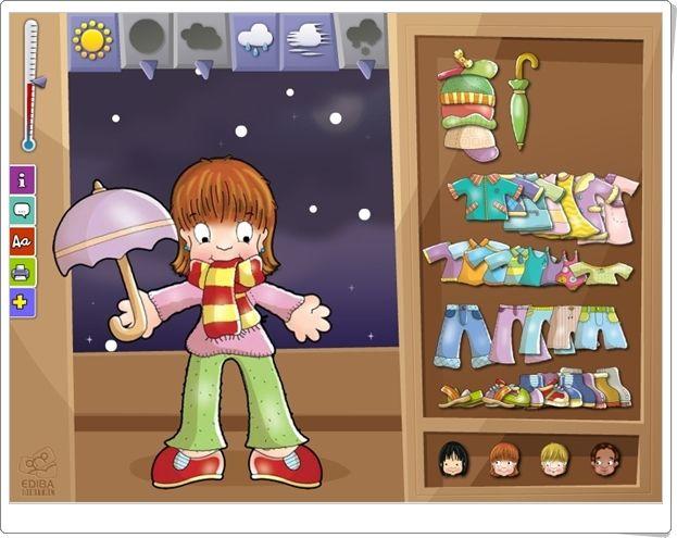 """""""Y ahora...¿qué me pongo?"""" es una actividad interactiva de Ediba Digital en la que se juega a vestir al personaje según el tiempo atmosférico que se elija."""