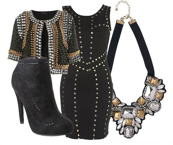 outfit nero e oro.