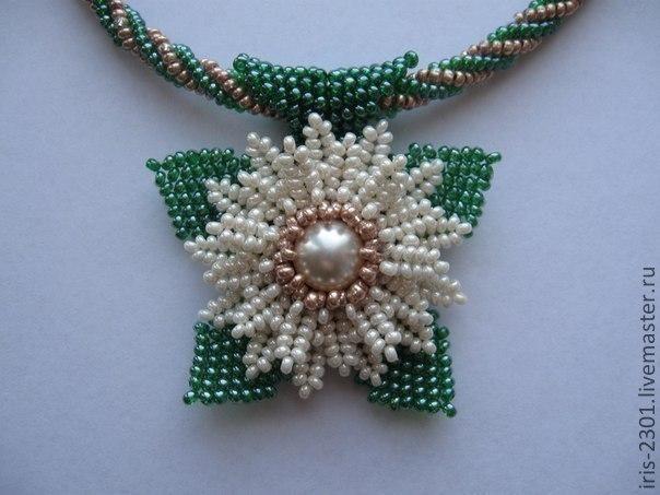 "Master-class - pendant ""Daisy"" - Good detail but needs translation.   #seed #bead #tutorial"