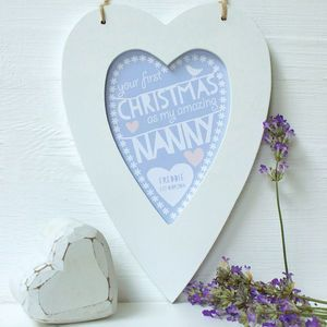 Personalised Nanny First Christmas Framed Heart - prints & art