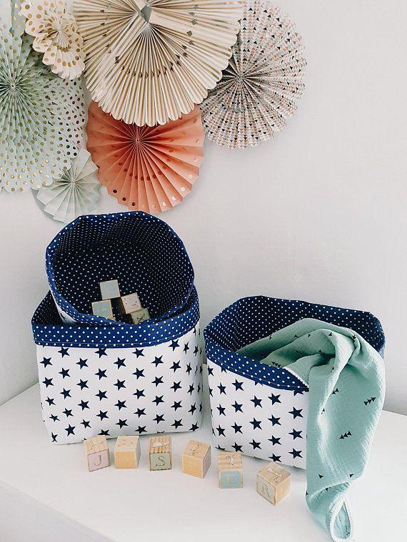 Stars Storage Baskets In Navy Blue. Nappy Storage. Toy Baskets. Nursery  Storage. Clouds Nursery Decor. Nursery Organiser. Baby Shower Gift.