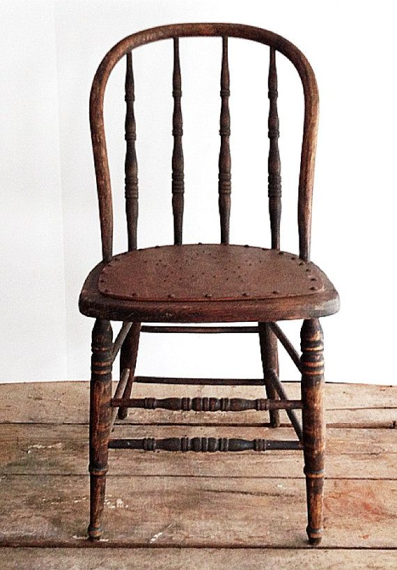 Old Wood Chairs ~ Primitive antique spindle back chair urban farmhouse