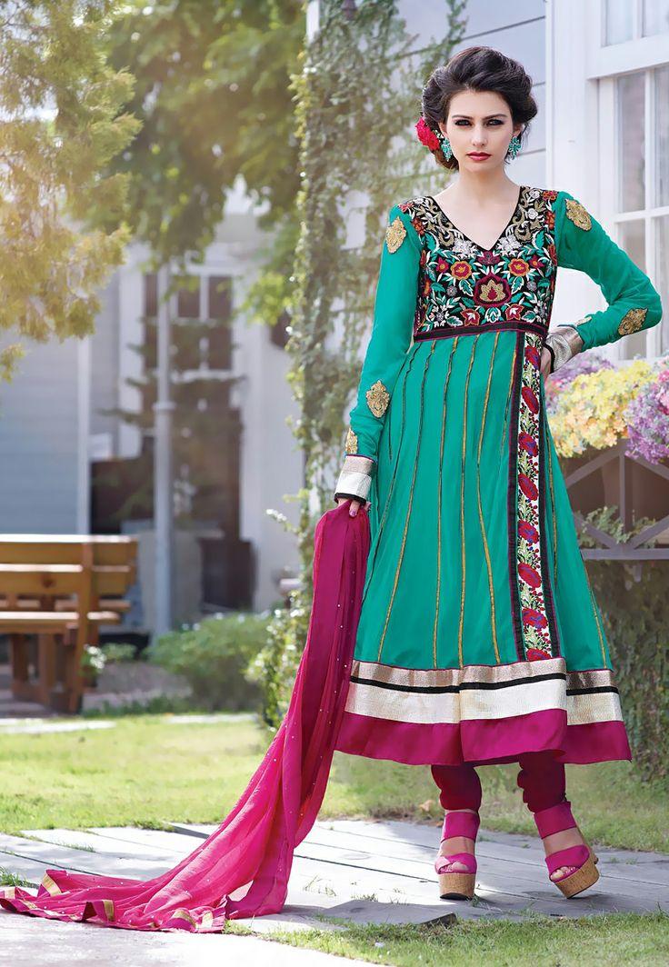 Pista #Green Net and Net #Jacquard #Anarkali #Churidar Kameez Itemcode: KHS477 Price: $145.83 #Shop Now @ http://www.utsavfashion.com/salwar/pista-green-net-and-net-jacquard-anarkali-churidar-kameez/khs477-itemcode
