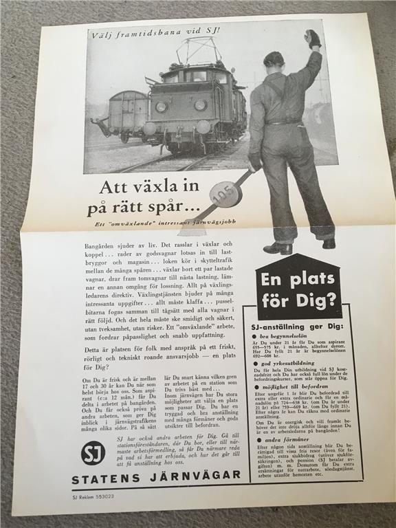 Orginal broschyr SJ för att söka efter växlare 1950-talet
