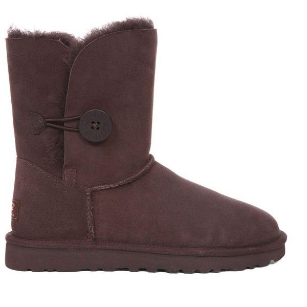 Ugg Womens Bailey Button Sheepskin Boots ($110) ❤ liked on Polyvore featuring shoes, boots, chocolate, sheepskin lined shoes, chocolate brown boots, sheepskin boots, button shoes and flexible shoes