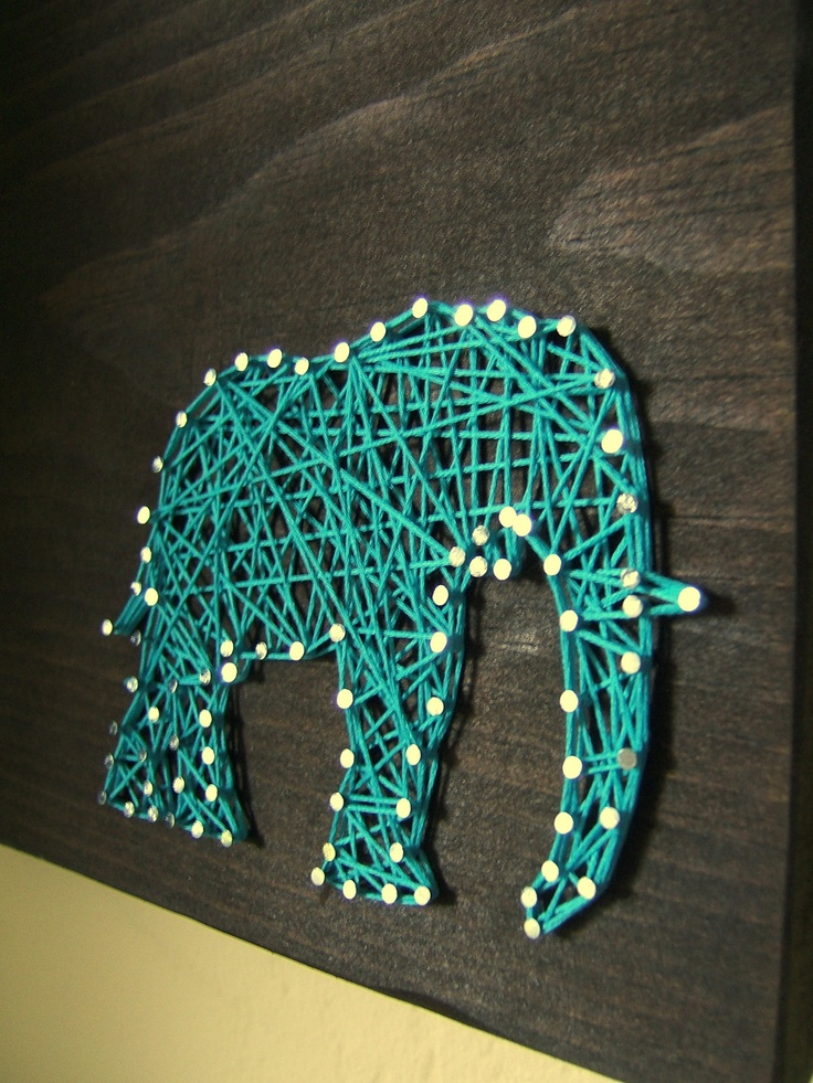 Modern String Art - I may do this with white wood and cream or dark gray string for my room with different animals!