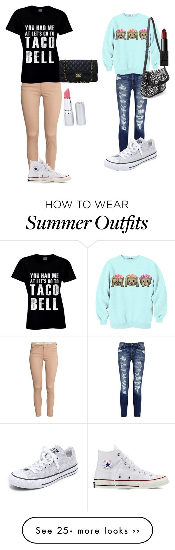 """""""Cute outfits"""" by dgracen on Polyvore featuring H&M, Current/Elliott, Converse, Chanel, HoneyBee Gardens and NARS Cosmetics"""