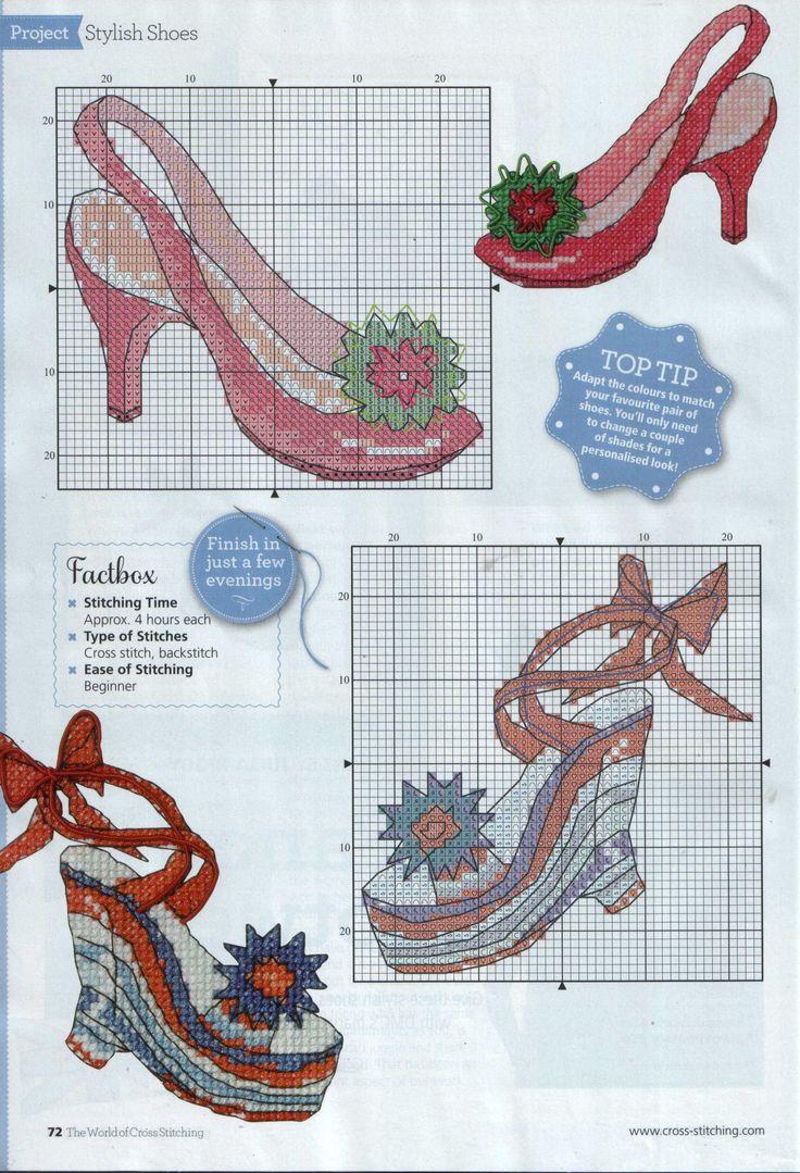 point de croix chaussures de femme - cross stitch woman, girl's shoes