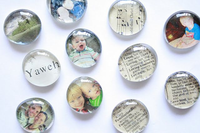 Glass Photo Magnets - Great gift idea for grandparents! Super easy and cheap!