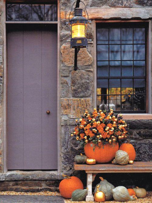 .: Holiday, Idea, Autumn, Fall Porch, Pumpkins, Front Doors, Fall Decorating, Halloween