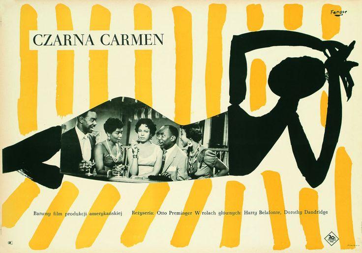 """Wojciech Fangor, plakat do filmu """"Czarna Carmen"""", reż. Otto Preminger, 1959, fot. Muzeum Plakatu w Wilanowie"""