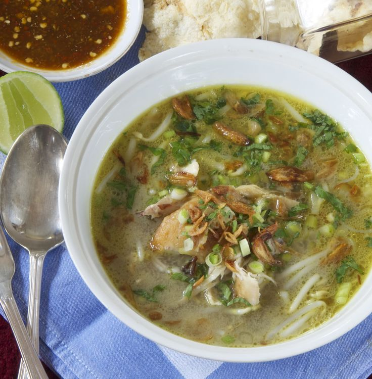 """There are as many """"sotos"""" as there are regions in Indonesia! This comforting, flavourful, gingery, curried chicken broth made wi..."""