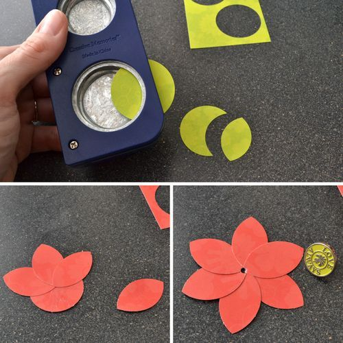 Punch a circle, and then place only part of the circle back into the punch to create leaf and petal shapes.