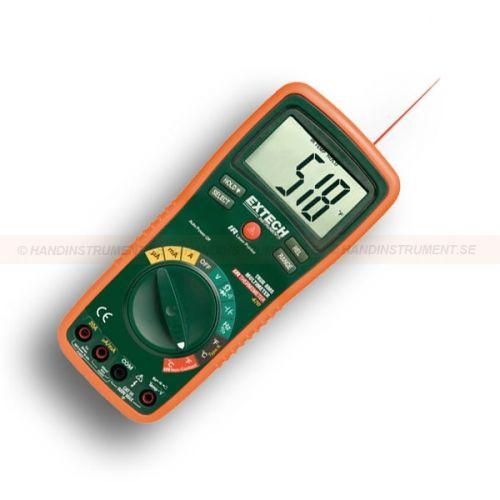 http://handinstrument.se/termometer-r1288/digital-multimeter-trms-53-EX470-r1502  Digital multimeter, TRMS  Sann RMS DMM med 12 funktioner och 0,3% grundläggande noggrannhet  AC / DC spänning och ström, resistans, kapacitans, frekvens, TypeK & IR temperatur, diod / kontinuitet, Duty Cycle  Inbyggd beröringsfria Infraröd termometer med 8:1 avståndet till målet förhållande med 0,95 fast emissivitet  Ingångssäkring skydd och MIS-anslutning varning  20A max ström...