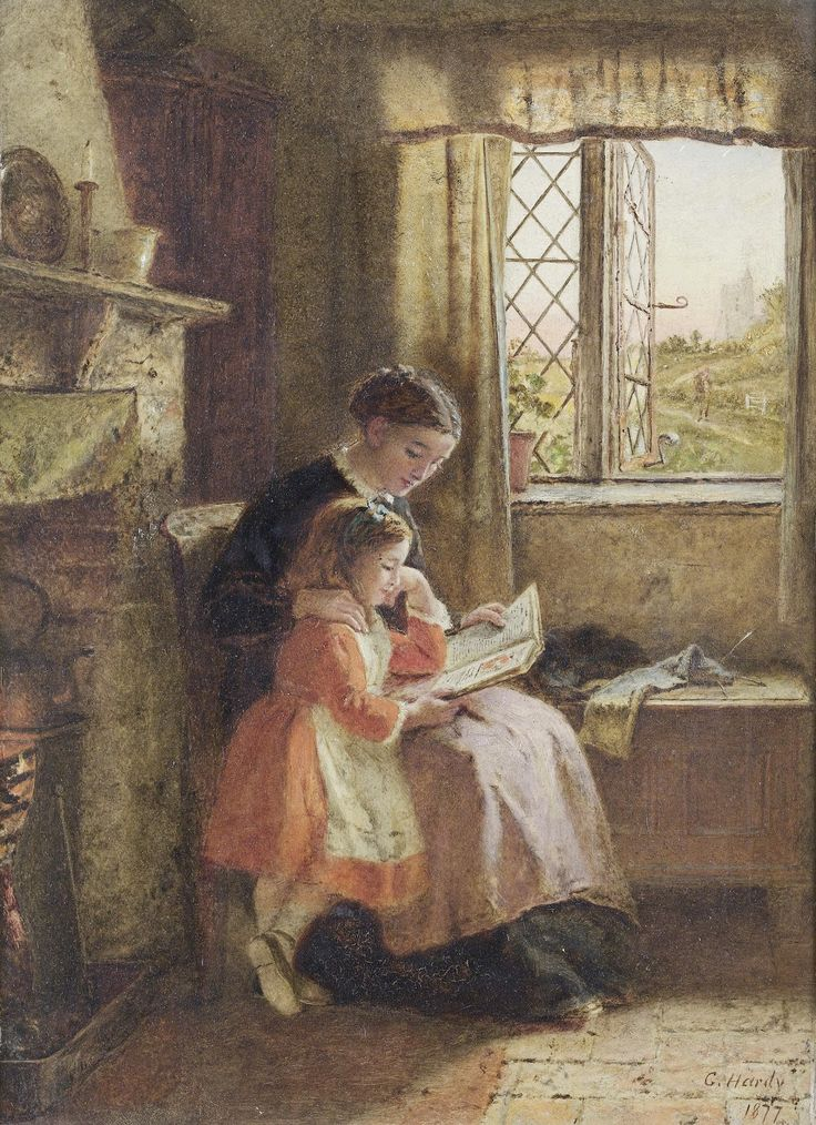 The evening hour (1877). George Hardy (British, 1822-1909). Oil on panel. Original letter dated 23rd August 1877 attached to the reverse of the panel. The letter is sent from Rose Cottage, Cranbrook to William Evans Esq. and reads 'My dear Sir/I beg to acknowledge with thanks the receipt of cheque for £60 for picture called The evening hour. I shall look forward to the pleasure of meeting you again before very long and remain, Yours faithfully George Hardy'