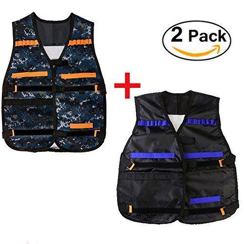 2Set(Camouflage color and black)Adjustable Tactical Vest w/Pocket for Kids Toy Gun Nerf N Strike Elite. #Set(Camouflage #color #black)Adjustable #Tactical #Vest #w/Pocket #Kids #Nerf #Strike #Elite