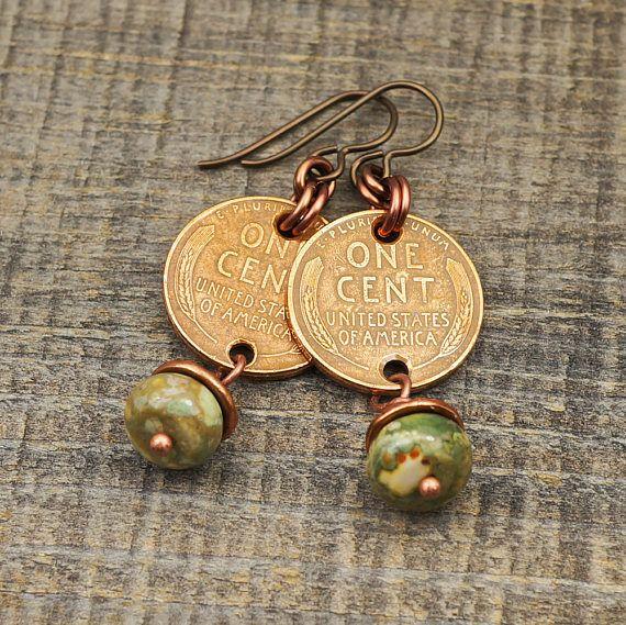 US coin earrings green rhyolite beads wheat pennies copper
