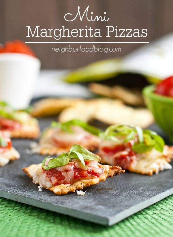 These Mini Margherita Pizzas make a perfect quick party appetizer!