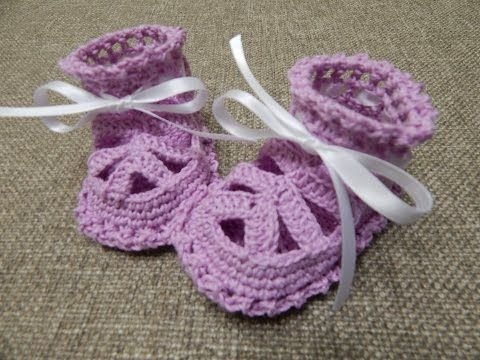 Zapatitos para Niña Crochet - YouTube