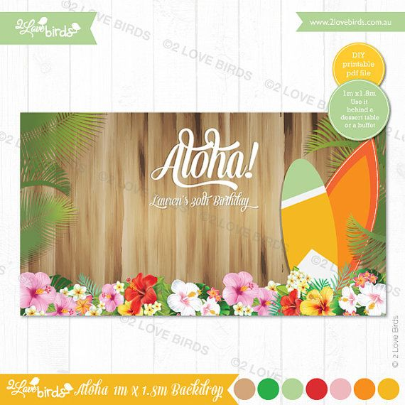 Aloha Printable Backdrop by 2LoveBirdsDesign on Etsy
