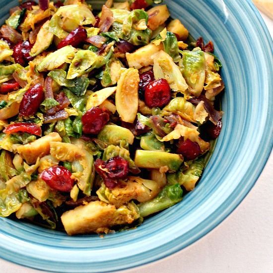 Spicy Stir Fried Brussels Sprouts with Cranberries