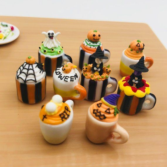 10 Mugs Coffee Cups Dollhouse Miniatures Ceramic Supply Food Halloween Orange