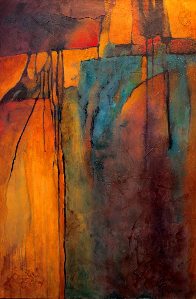 """""""Turquoise Mine"""" mixed media abstract painting by Carol Nelson"""