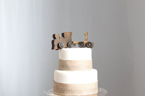 Old-fashioned Wood Toy Engine Train Cake by OverTheTopCakeTopper