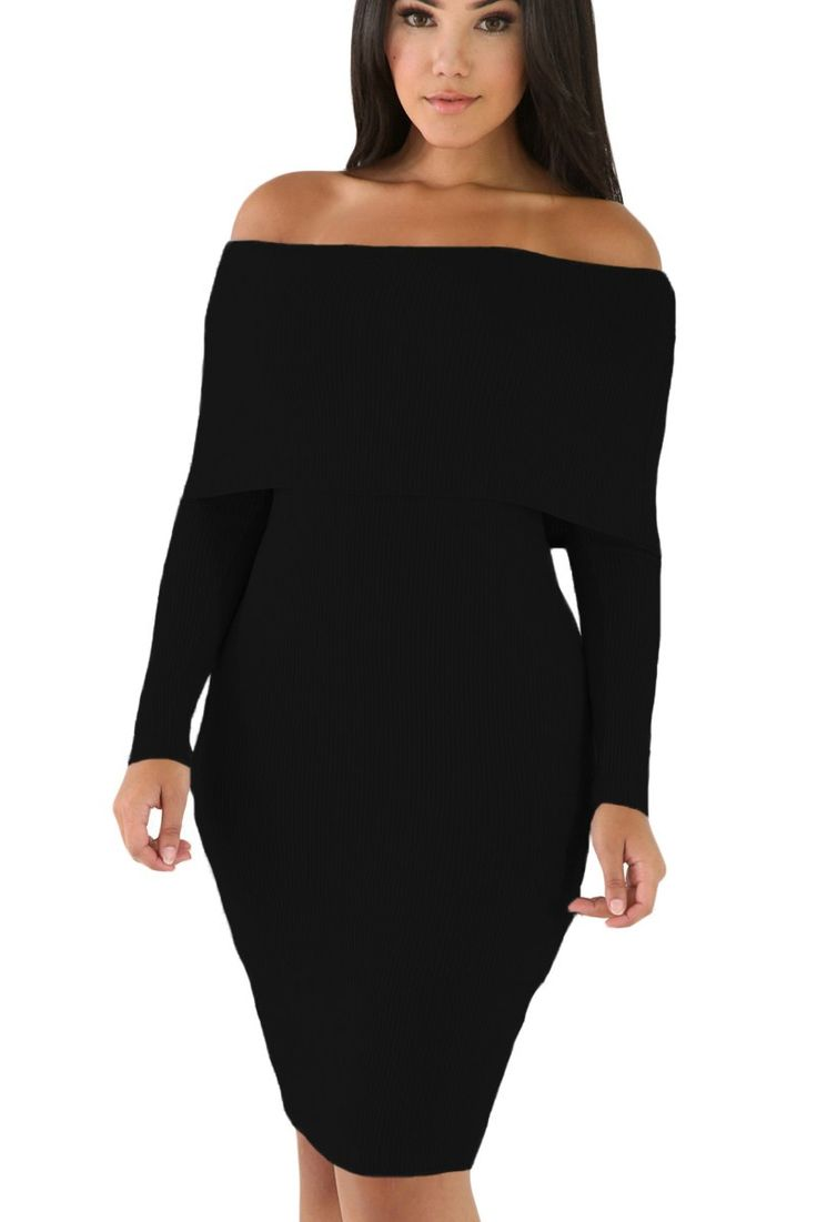 Prix: €25.80 Robes Pull Tricot Mini Noir Manches Longues Epaules Denudees Femme Pas Cher www.modebuy.com @Modebuy #Modebuy #Noir #robes #mode #style