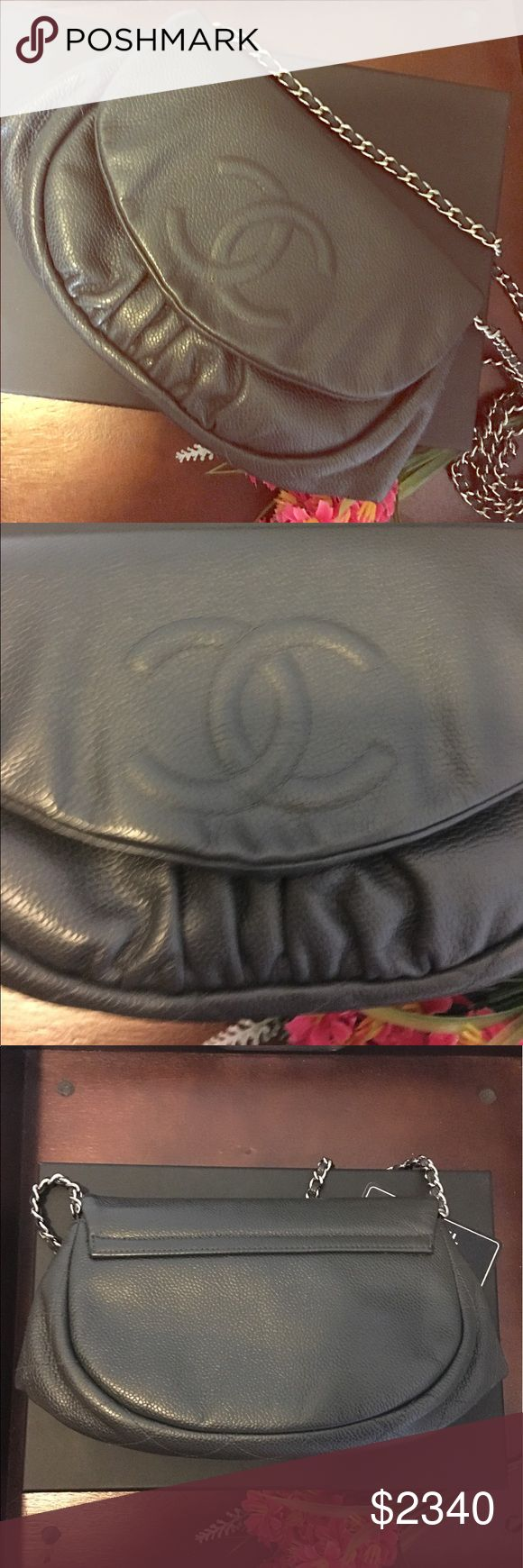 """Authentic CHANEL Caviar WOC - Charcoal Gray Authentic Chanel WOC in deep charcoal gray. Soft caviar leather with silver hardware. EXCELLENT used condition - I regularly use the leather cream Chanel uses to clean/restore items in store - so the only visible wear is on the two corners. It's very minor and not noticeable at all while wearing or carrying around (please refer to pictures of wear in second listing). ACCIDENTALLY DELETED ORIGINAL LISTING - SORRY IF YOU LOST YOUR """"LIKED"""" BOOKMARK…"""