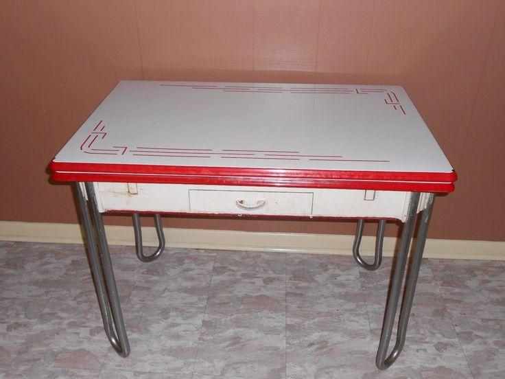 Delightful Vintage White W/ Red Trim Enamel Porcelain Leaf Kitchen Table W/ Drawer  1940u0027s