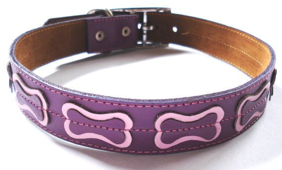 Cool Dog Collar Purple With Bones. $24.99, via Etsy.